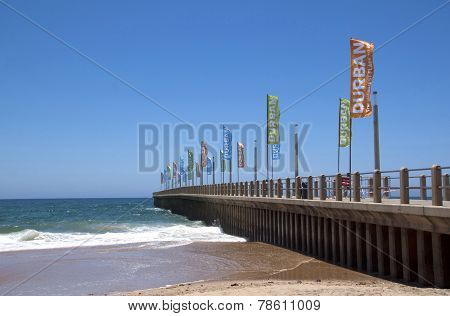 Promotional Banners On Empty Pier In Durban