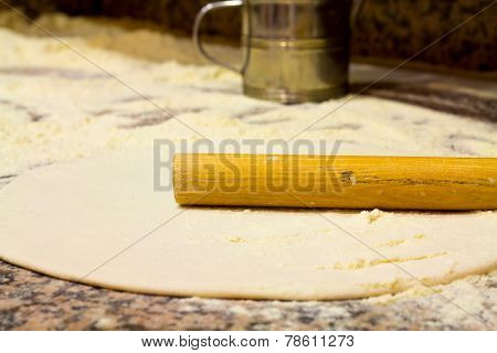 Close-up Of Dough Preparation