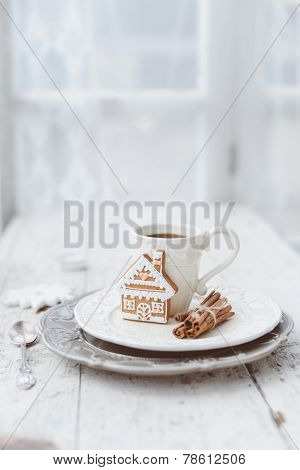 Merry Christmas Composition With Coffee And Gingerbread Sweets And Other Decorations