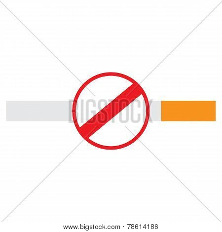 No Smoking Sign On A Cigarette, Isolated On White Background.