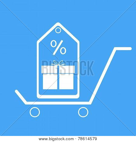 Shopping Trolley With Gift Box And Discount Coupons. Vector Illustration.