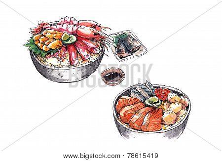 Hokkaido Seafood, Japanese Food Watercolor Illustration
