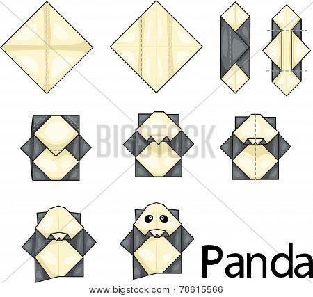 Illustrator of panda origami