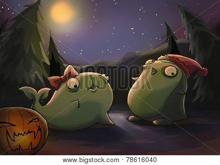 halloween theme zombie animal illustration