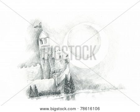 Dreamy Fairly Tales Castle Drawing
