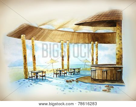 Resort Bar By The Sea Illustration