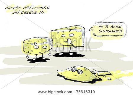 Cartoon joke, suntan cheese