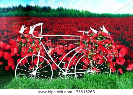 Red paper poppies bike.