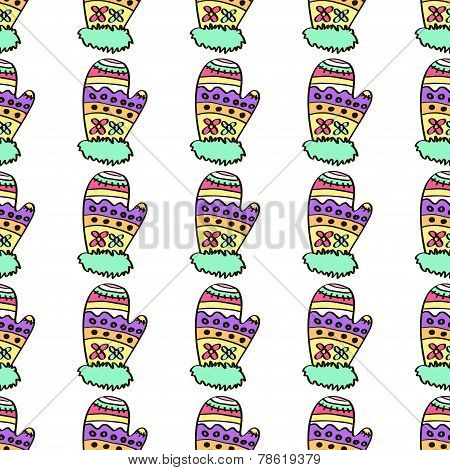 Christmas mittens seamless pattern on a background.