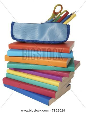 Colorful Books Stack And Pencil Case School Education