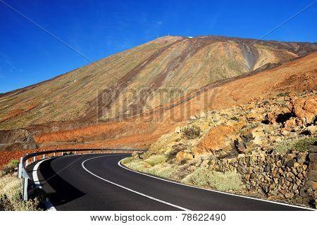 Road in El Teide National Park, Tenerife, Canary Islands, Spain