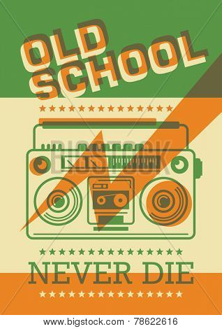 Retro poster with boom box. Vector illustration.