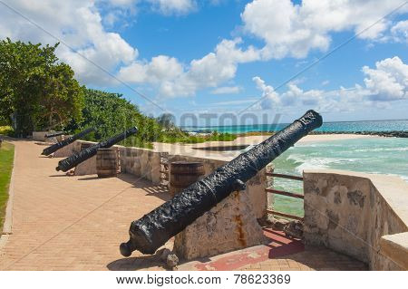 Needham's Point is a medieval fortification with cannons on the tropical Caribbean island of Barbados