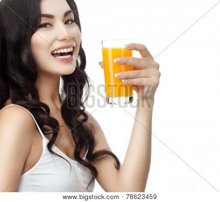 closeup portrait of attractive asian smiling woman brunette isolated on white studio shot lips toothy smile face hair head and shoulders looking at camera tooth drinking orange juice