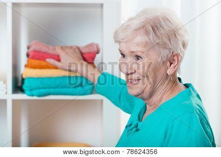 Lady Putting Towels
