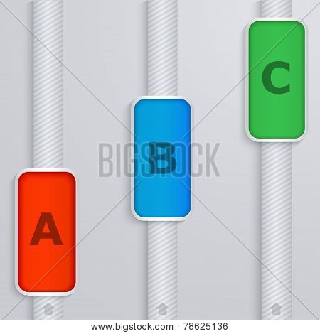 Striped Columns With Tabs Growth. Elements Of Infographics