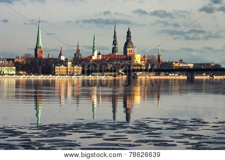 Panorama Of Riga In The Spring Of The Daugava