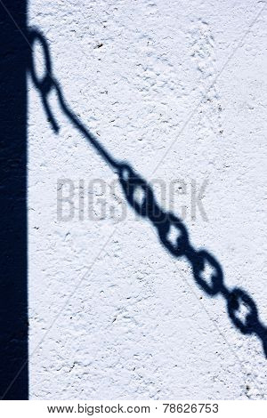 The Shadow Of The Chain Link Fence On The Wall