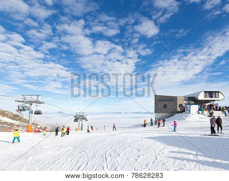 People Skiing On The Glacier