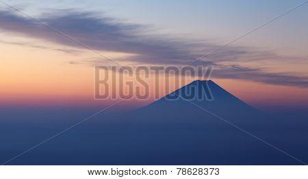 Top of Mountain Fuji and sunrise sky