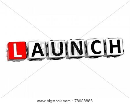 3D Word Launch On White Background