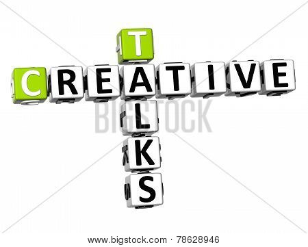 3D Crossword Creative Talks On White Background