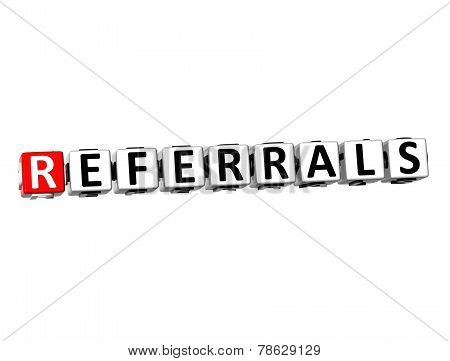 3D Word Referrals On White Background