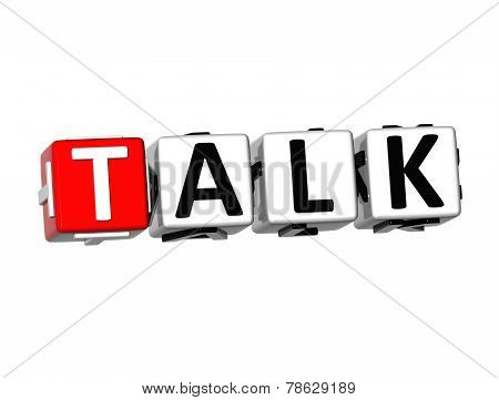 3D Word Talk On White Background