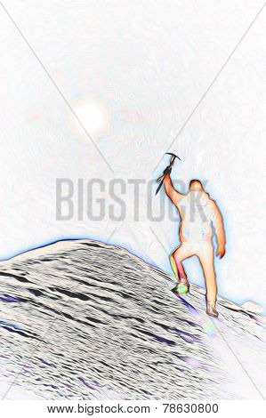 Mountaineer reaches the top of a mountain peak and expresses his joy. Stylized silhouette with fantasy-painting effect.