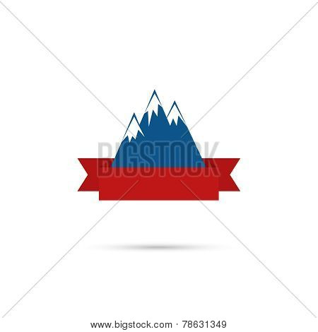 Mountains with ribbon for your text.