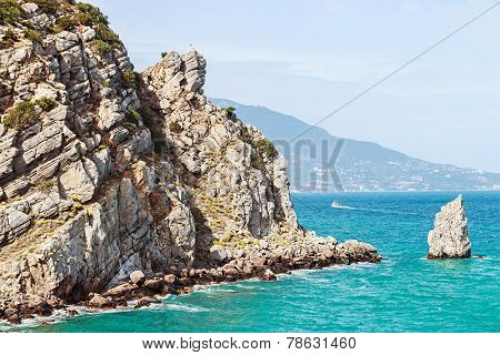 Sail Rock At The Cape Limen Burun. Gaspra, Big Yalta District