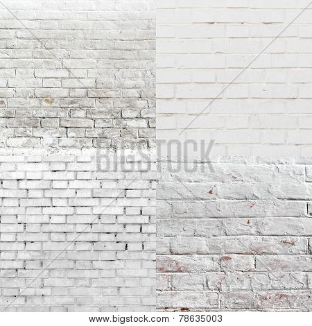 White Brick Wall Pattern Texture Set