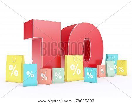 3D rendering of a 10 percent discount