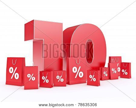 3D rendering of a 10 percent discount