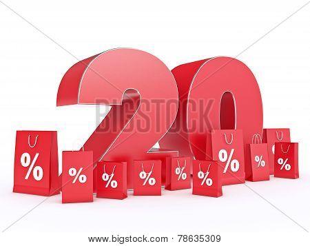 3D rendering of a 20 percent discount