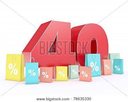 3D rendering of a 40 percent discount