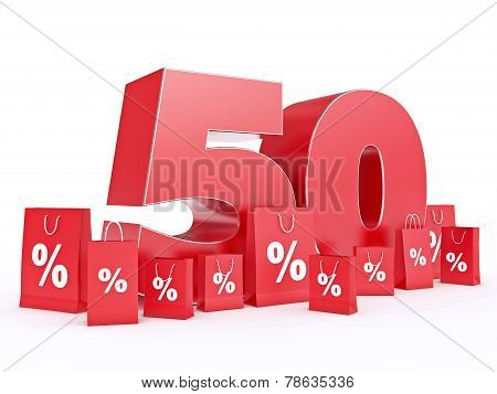 3D rendering of a 50 percent discount