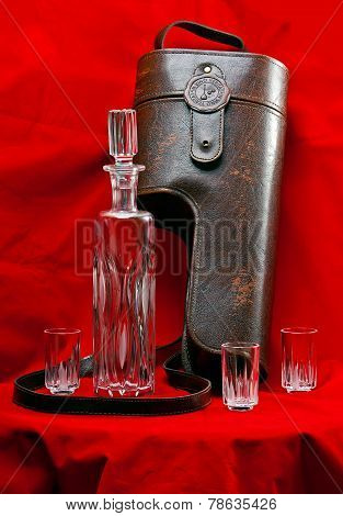 Leather Case For A Decanter And Glasses