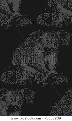vector vintage illustration of a koala bear. seamless animal pat