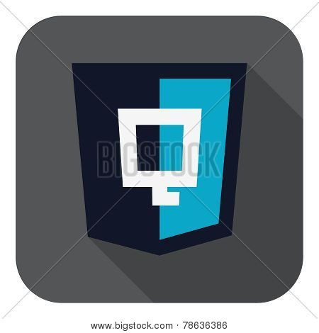 illustration of dark blue shield with javascript Q letter on the screen, isolated web site developme