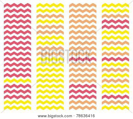 Zig zag chevron vector pattern set. Pastel pink and yellow background collection