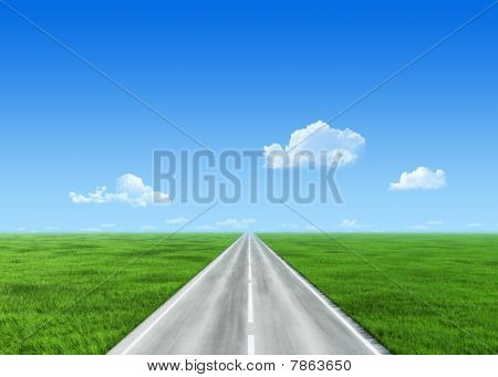 Very Detailed Road Over Field - Nature Collection