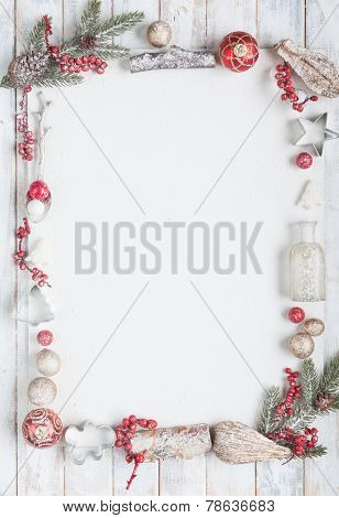 Christmas Greeting Card In Red And White With Copy Space