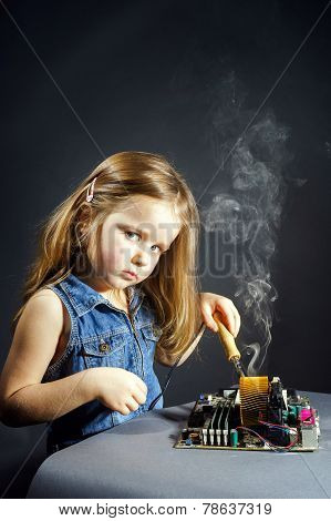 Cute Little Girl Repair Electronics By Cooper-bit