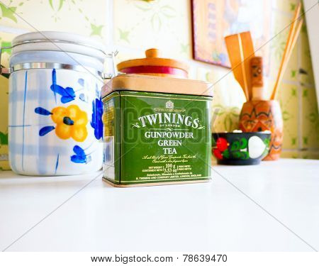 GOMEL, BELARUS - SEPTEMBER 24, 2014: Twinings Tea Gunpowder Green Tea. Twinings holds the world's oldest continually-used company logo.