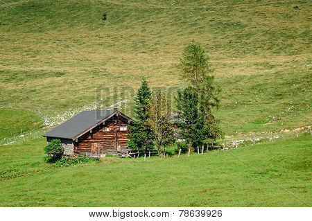 Traditional Hut In The Austrian Alps