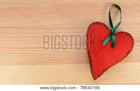 Heart-shaped Felt Decoration With Green Ribbon