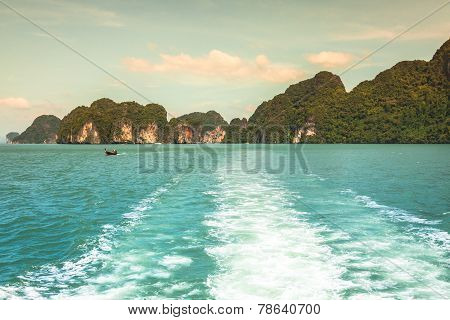 Rock Islands In A Phang Nga Bay, Thailand View From Boat.