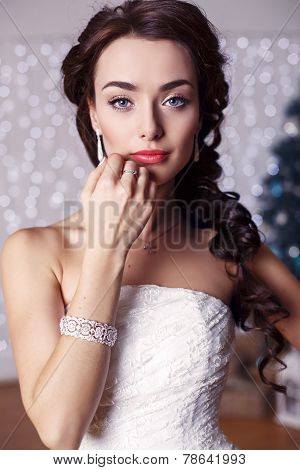 Portrait Of Beautiful Elegant Bride With Dark Hair Posing At Studio
