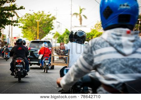Driving On A Local Steet In Indonesia